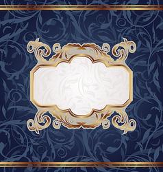 Golden retro emblem seamless floral texture vector