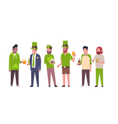 Group of mix race men in green clothes drink beer vector