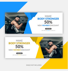 Gym fitness facebook cover template vector