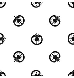 half of tomato pattern seamless black vector image
