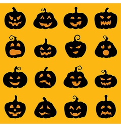 Halloween decoration Jack o Lantern silhouette set vector image