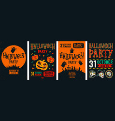 halloween posters set collection vector image