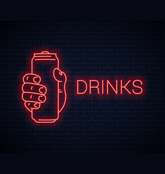 hand hold can neon signholding aluminium red vector image