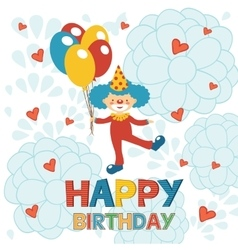 Happy birthday card with happy clown vector
