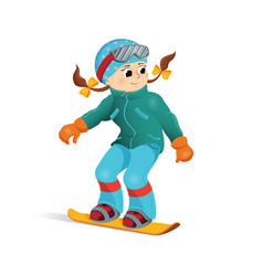 happy funny girl snowboard downhill winter sport vector image