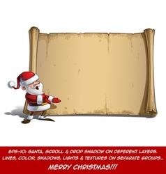 Happy Santa Scroll Presenting vector image
