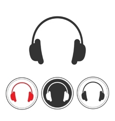 Headphones with line round circle Red black vector