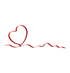 heart shape of red ribbon vector image
