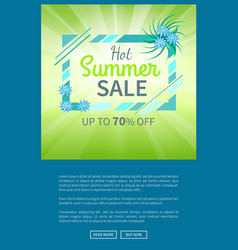 hot summer sale poster up to 70 off banner vector image