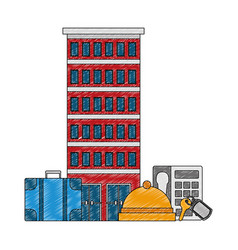 hotel building with suitcases vector image