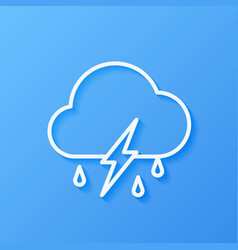 Icon weather cloud rain with lightning vector