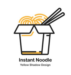 Instant noodle lineal color vector