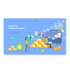 Invest in physical assets money and gold bars vector