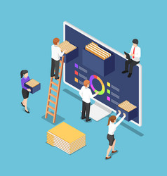 Isometric business people are organize document vector