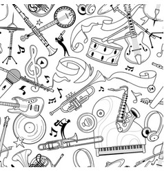 Jazz music instruments hand drawn outline vector