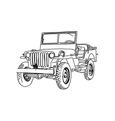 Jeep army line art hand drawn vector
