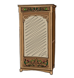 jugendstil wardrobe with mirror vector image