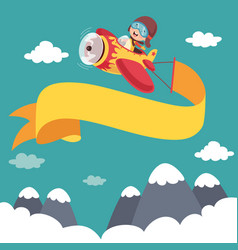 Kid flying plane with banner vector