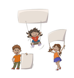 kids with advertising banners vector image
