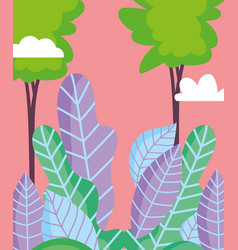 landscape foliage leaves nature trees sky vector image
