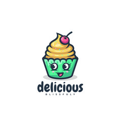 logo cup cake simple mascot style vector image
