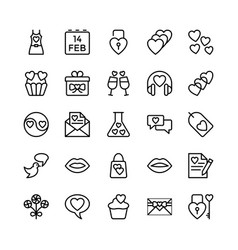 Love and valentine line icons 7 vector