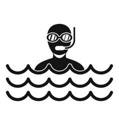 Man with scuba icon simple style vector image