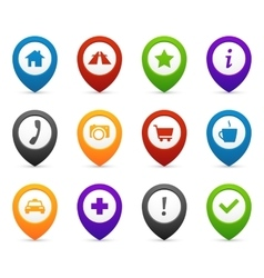 Mapping push pins with location icons for web vector