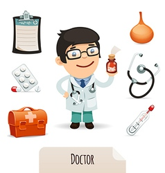 Medical set with a male doctor vector