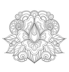 Monochrome floral design element in doodle line vector