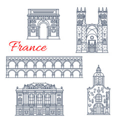 montpellier architecture icons in france vector image
