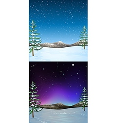 Nature scene with snow falling vector image
