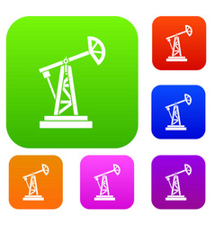 oil rig set collection vector image