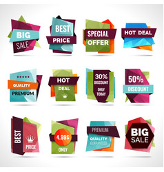 Origami Sale Labels vector