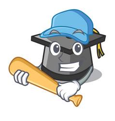 Playing baseball graduation hat character cartoon vector