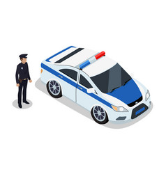 Policeman on duty and car icons vector