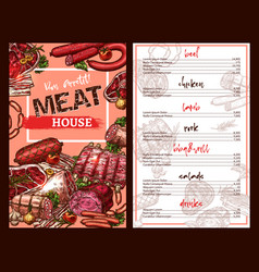 Price menu for meat house restaurant sketch vector