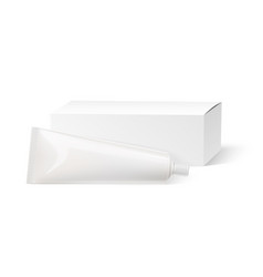 realistic tooth paste tube white mock up vector image