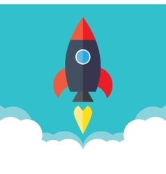 Rocket startup concept project development vector