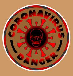 Round black and red emblem coronavirus skull vector