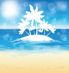 Sand beach and small island vector