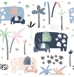 seamless pattern with cute mom and baby elephant vector image