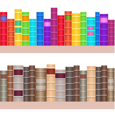 seamless texture shelves with a variety of books vector image