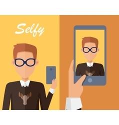 Selfy on Smartphone Young Man Taking Self vector image