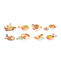 set different breakfast lunch and dinner vector image