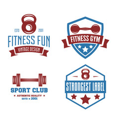 set fitness emblems signs labels badges vector image