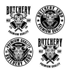 Set four butchery shop emblems badges vector