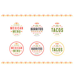 Set of label logo and badge for mexican restaurant vector