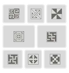 set of monochrome icons with celtic ornament vector image