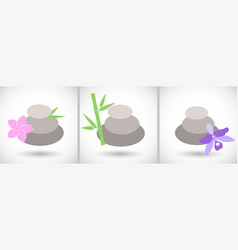 spa stones icons set vector image